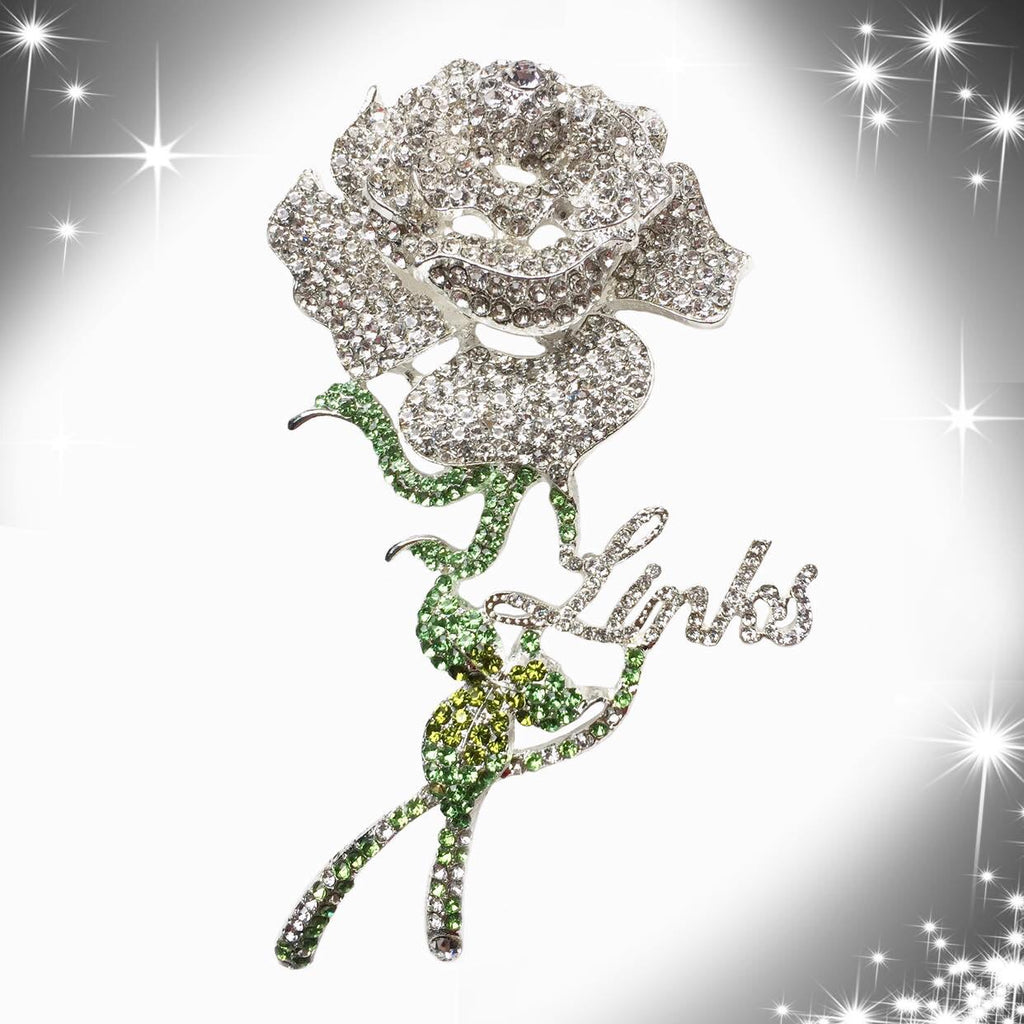 Beautiful LINKS Austrian Crystal Rose Brooch Pin (New)