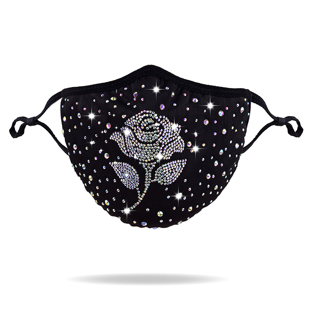 Beautiful Crystal Rose Rhinestone Mask (NEW)