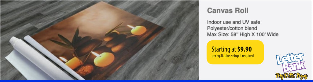canvas roll printed with custom full color photo or graphics in high quality printing