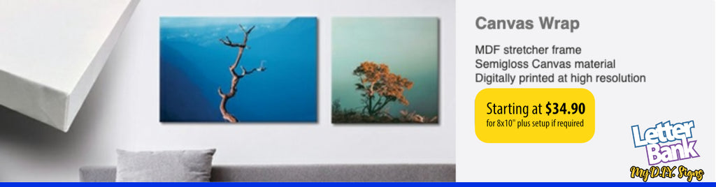 Stretched canvas over frame with custom full color photo or graphics in high quality printing