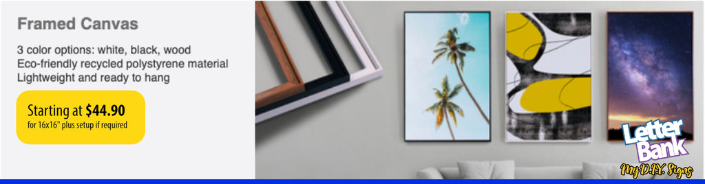 Framed canvas print with custom full color photo or graphics in high quality printing