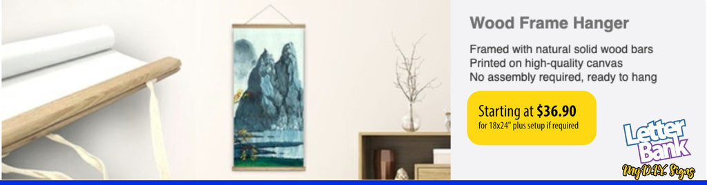 Canvas with wood hanging frame with custom full color photo or graphics in high quality printing