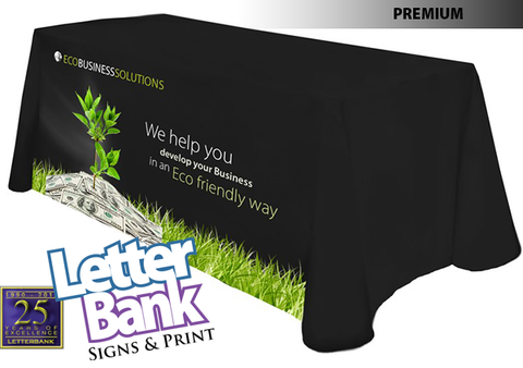 Imprinted tablecloth with your graphics on machine-washable poly.