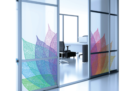 Privacy Design Window Etch in Full Color in self-adhesive film