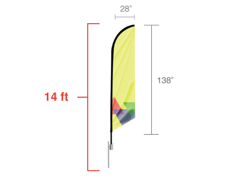 Banner Flags: 14ft. Feathered Angled Flag- Large