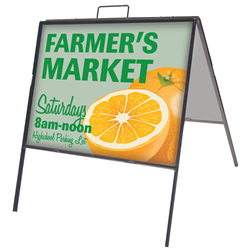 Metal sign frame with two custom-printed sign inserts. Economical metal sidewalk signs.