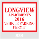 Parking Permits Stickers 2x3""