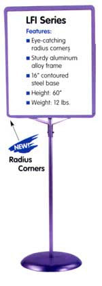 "Sign Stand: Aluminum frame, single pole, 16"" round steel base"