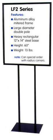 Sign stand: Twin vertical pole, mitered frame