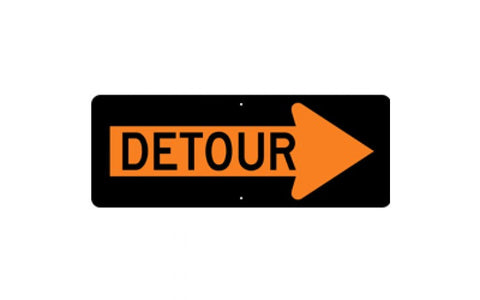 Detour Right Arrow 48x18""