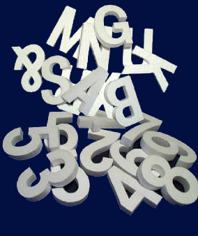 "Economy Foam Letters 1"" thick, unpainted for signs & concrete casting"