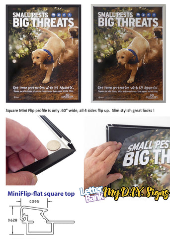 LetterBank's Mini Snap Frames have the thinnest profile commercial quality frame available. For sign frames on walls that need the slightest frame profile, check this out at MyDIYsigns.com
