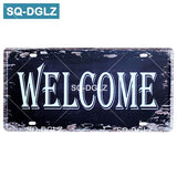 Welcome/WIFI License Plate Store Wall Decor Restrooms Tin Sign Vintage Road Guide Metal Sign Painting Plaques Poster