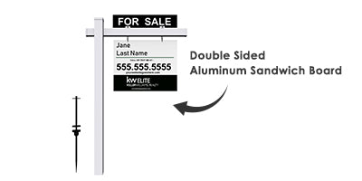 Real estate post with 2-sided aluminum sandwich sign