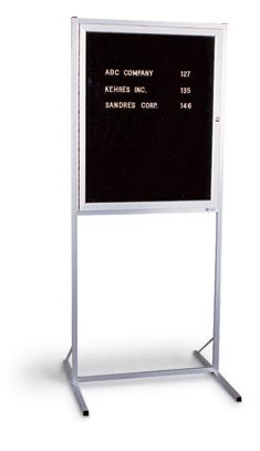 "Aluminum Framed Enclosed Double Pedestal Corkboard 24""x36"""