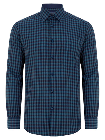 Long Sleeve Shirt Regular Fit - Teal Blue Check