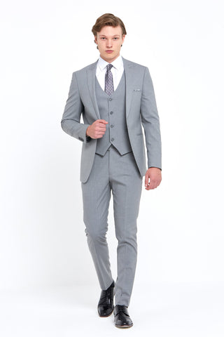 ANTOINE SILVER 3 Piece Slim Fit Suit