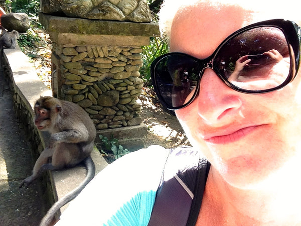 Selfie with monkey, Sacred Monkey Forest, Ubud, Bali