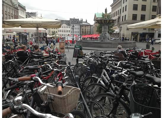 Full bike racks at Nytorv Square, Copenhagen, Denmark
