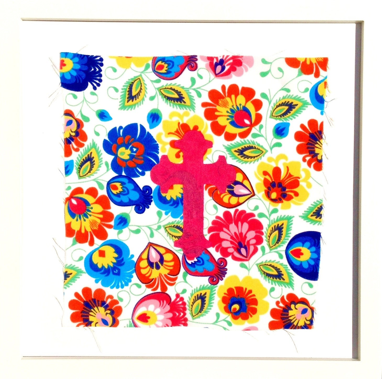 Poland- Folk Collection- Framed Wall Print- Cross (Brights)