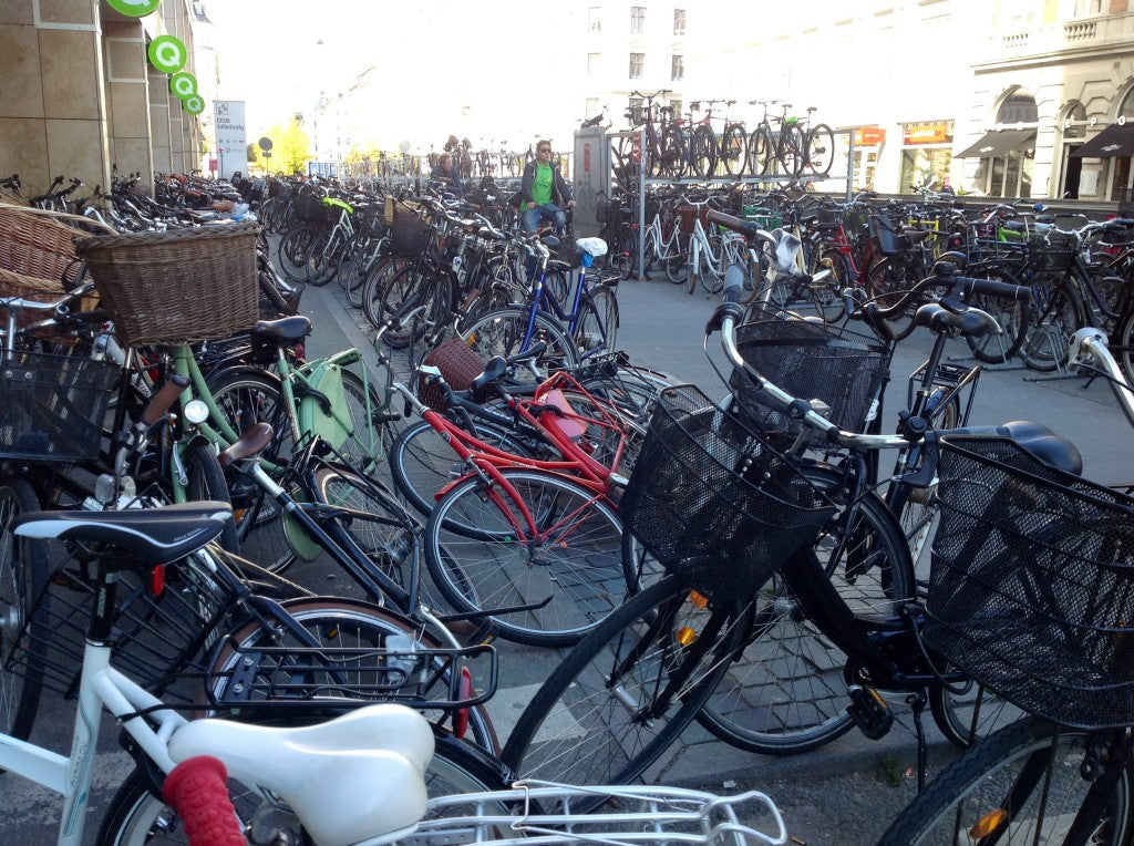 Double decker bike parking, Copenhagen, Denmark