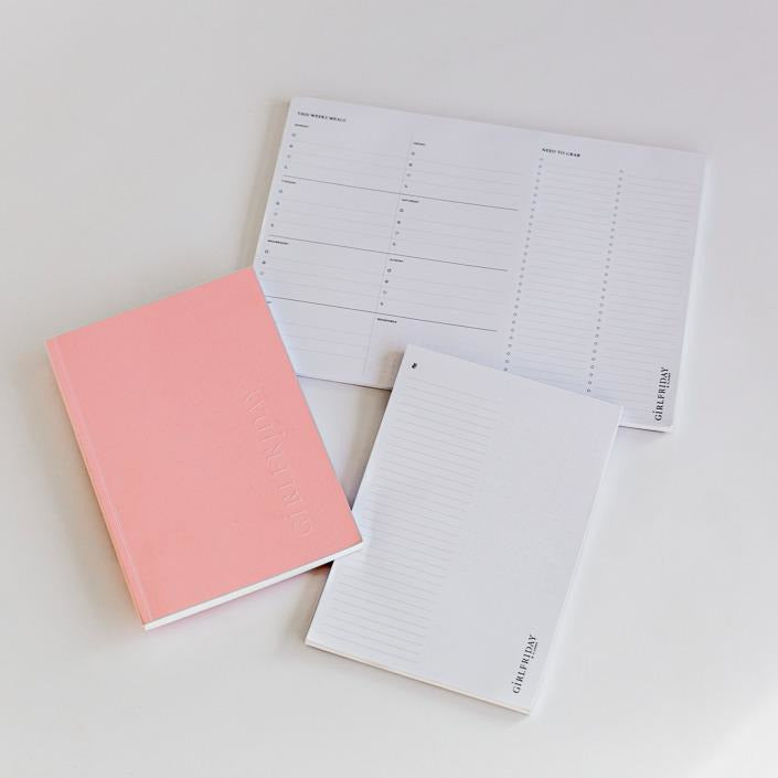 GirlFriday Planner Bundle Inc Meal Planner/Shopping List & Jotter Notepad