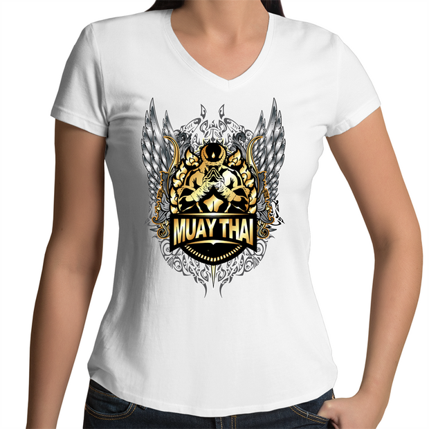 Muay Thai Respect  - Womens V-Neck T-Shirt