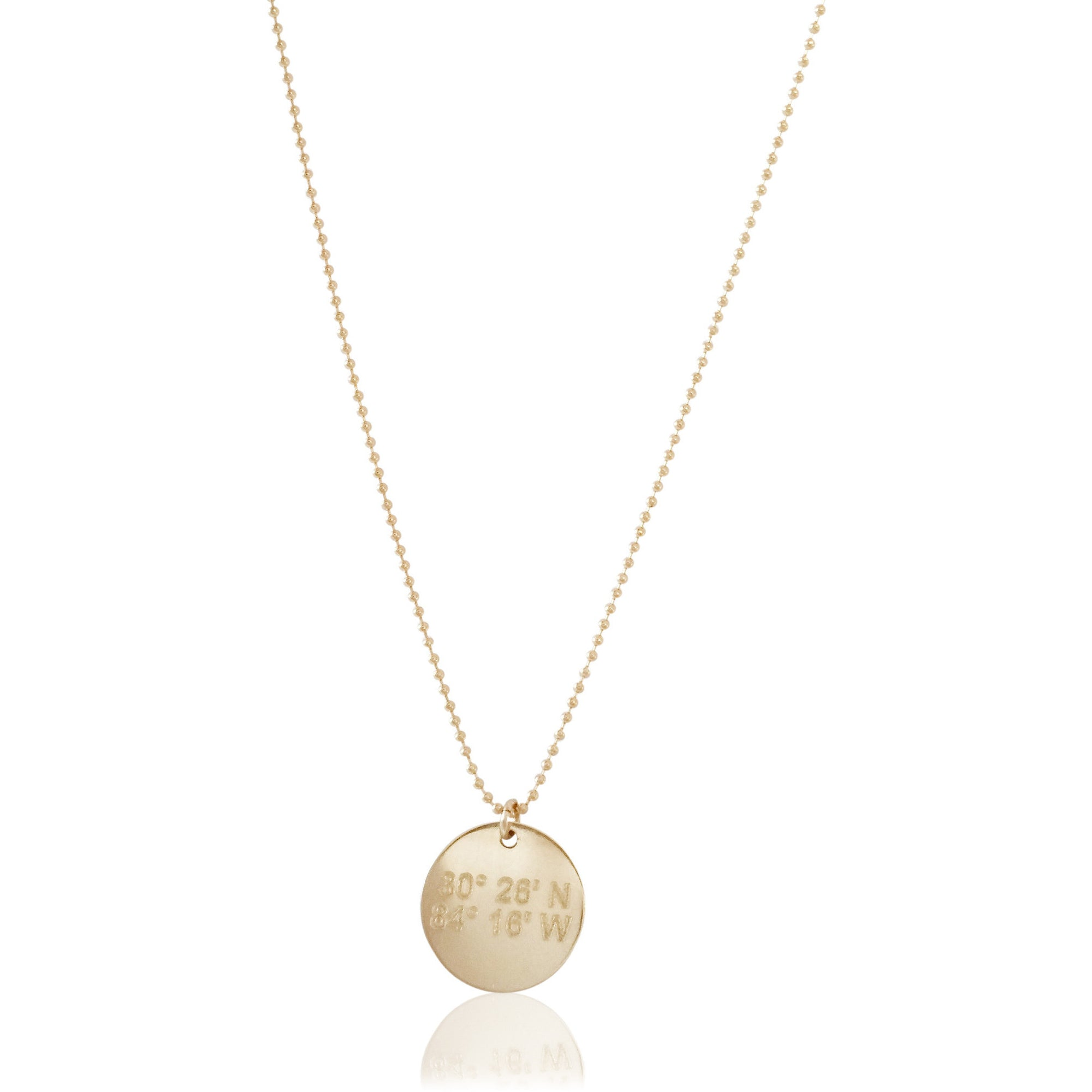 Atlantic Necklace - Lat & Lo™, 13mm charm on beaded chain, 14K gold filled or sterling silver