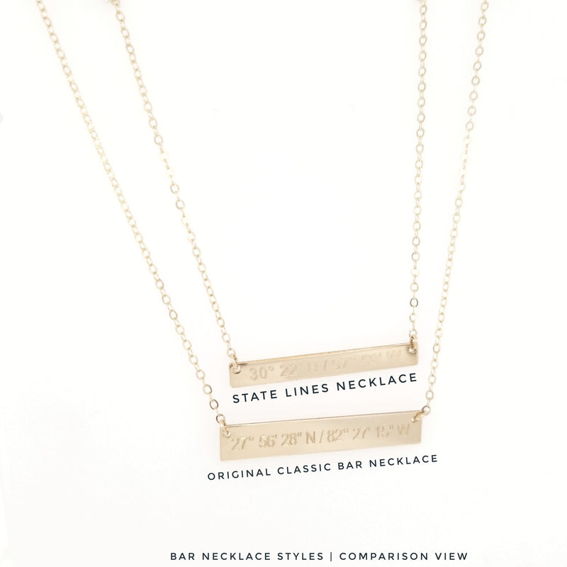 State Lines Necklace (Skinny Bar)