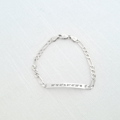 Lat & Lo Co-Captains bracelet, women's style, figaro chain, engraved with coordinates, sterling silver