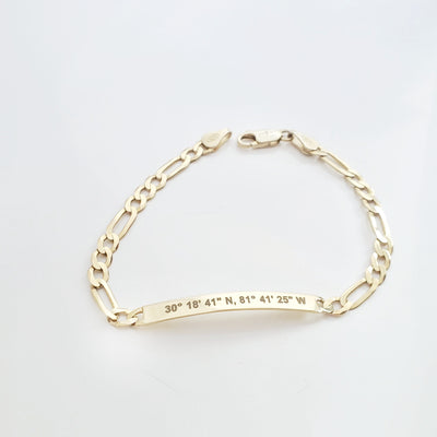 Lat & Lo Co-Captains bracelet, women's style, figaro chain, engraved with coordinates, gold vermeil