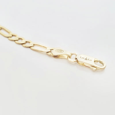 Lat & Lo Co-Captains bracelet, women's style, close up of lobster clasp and figaro chain, gold vermeil