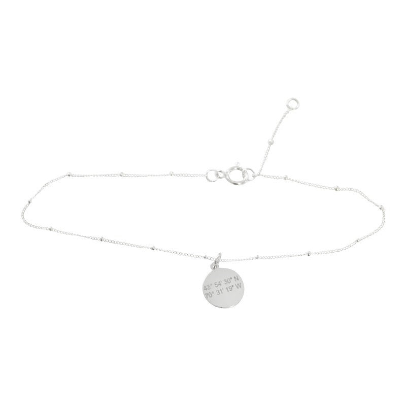 Coordinates Anklet. Sterling Silver small disc charm on sterling silver anklet chain. By Lat & Lo.