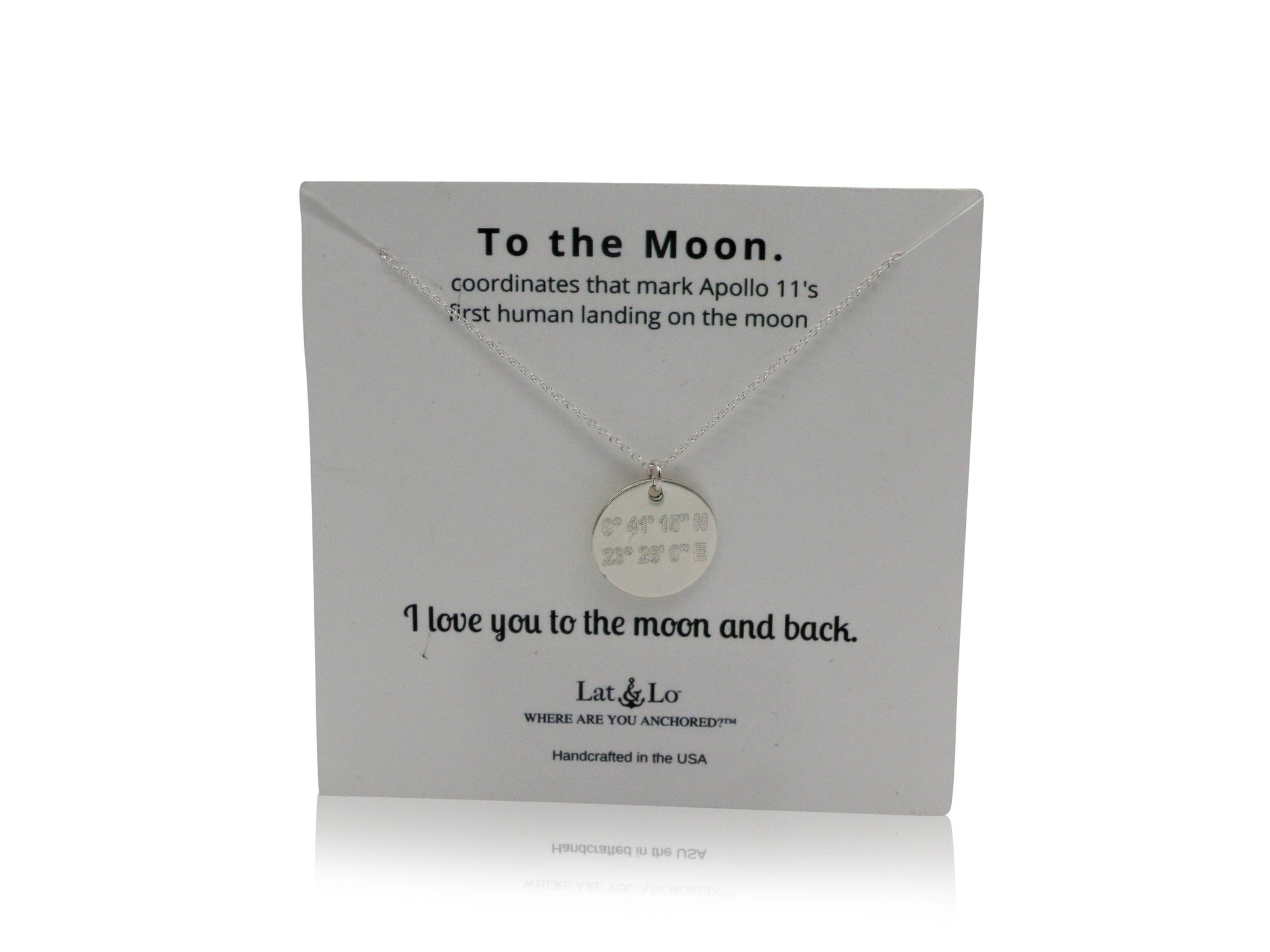 Lat & Lo Disc necklace, on To the Moon display card, inscribed with custom coordinates, sterling silver
