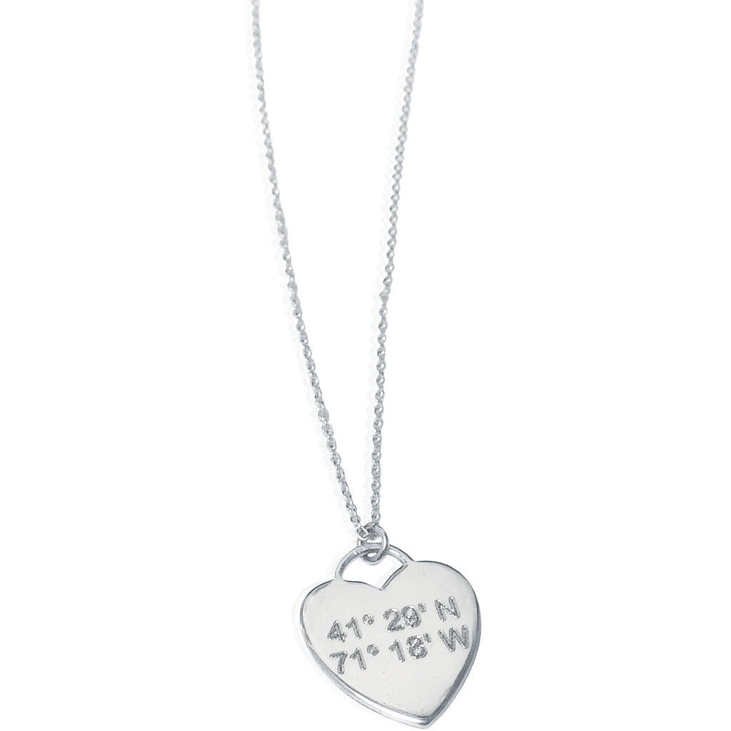A Lat & Lo necklace featuring latitude and longitude coordinates. (Credit: Lat & Lo)