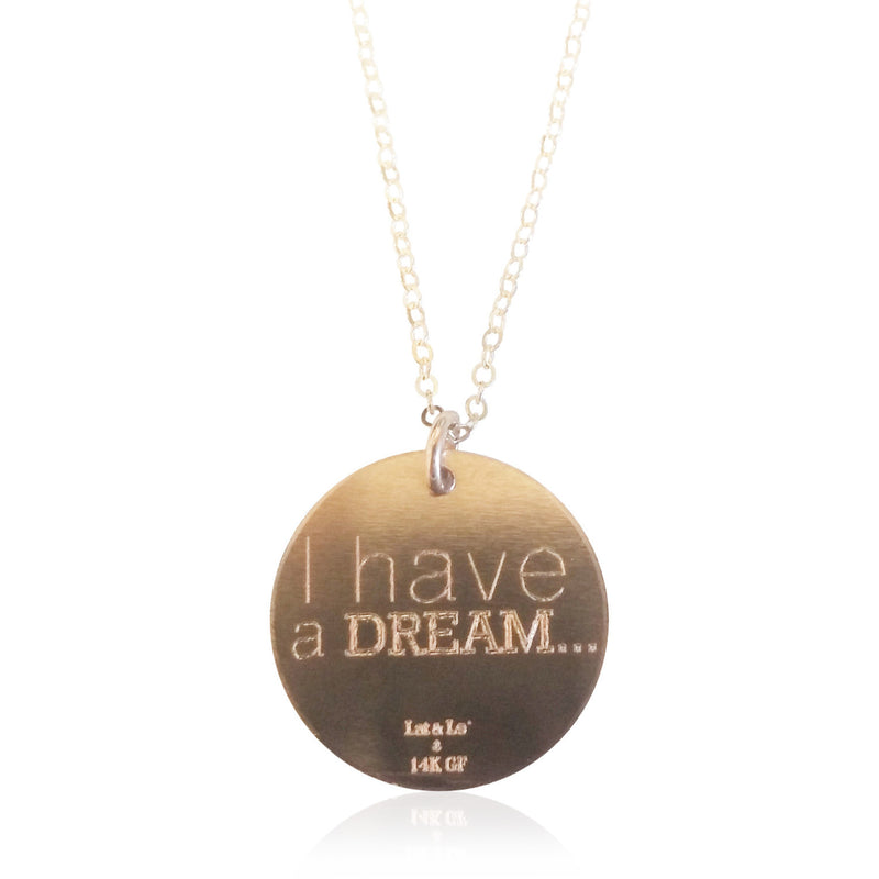 Lat & Lo disc necklace on Dream big, Lincoln Memorial display card, 14K Rose Gold Filled
