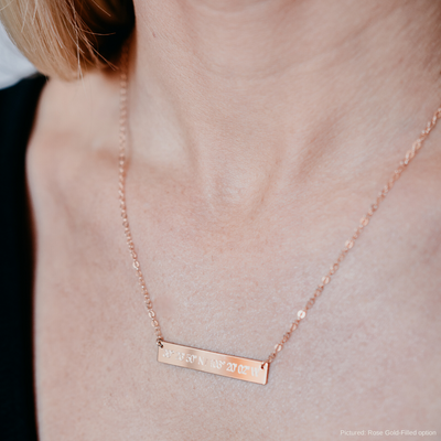 rose gold coordinates bar necklace. By Lat & Lo