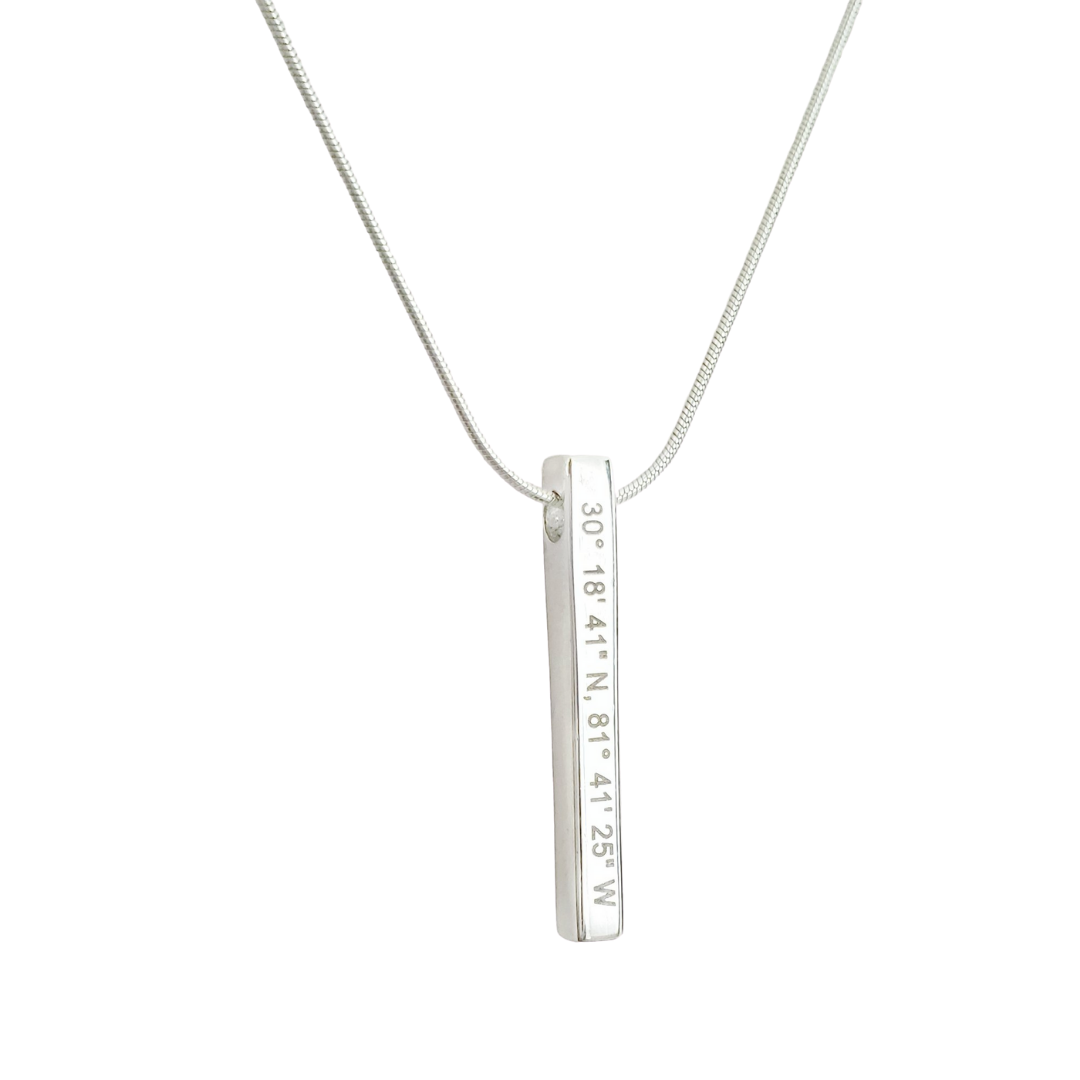 Sterling Silver coordinates necklace on white background. Column pendant. By Lat & Lo.
