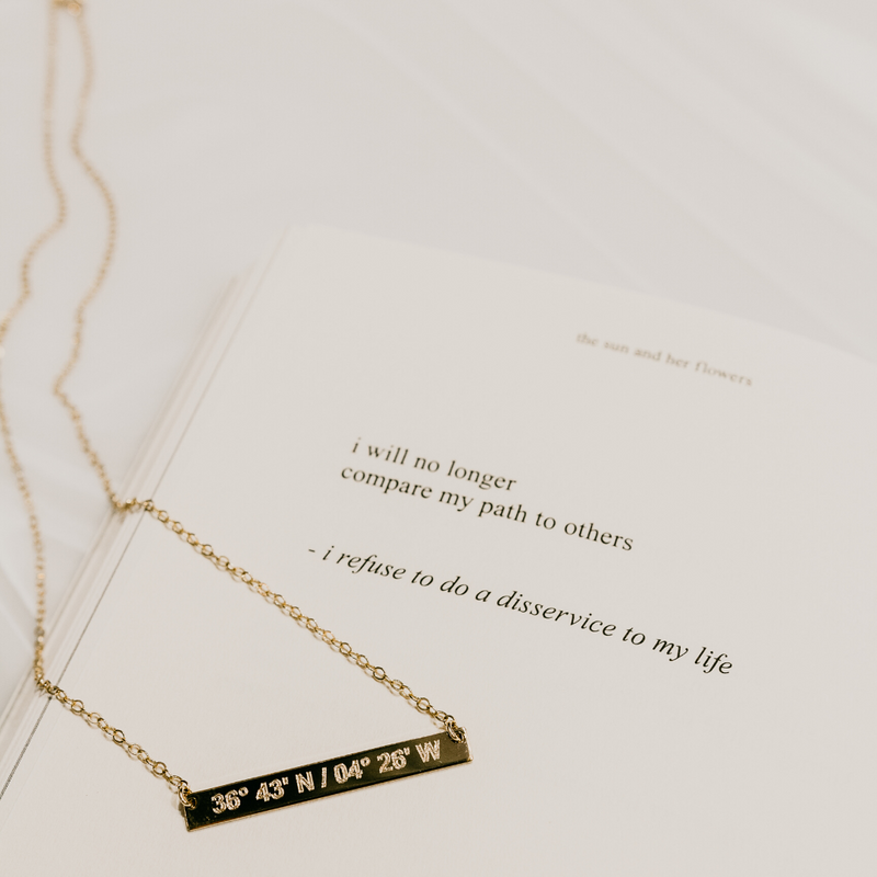 Coordinates Skinny Bar Necklace in Sterling Silver. By Lat & Lo.