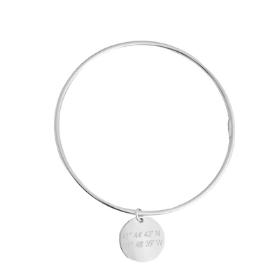 Lat & Lo charm bangle, sterling silver, engraved with coordinates, 16mm charm on wire bangle