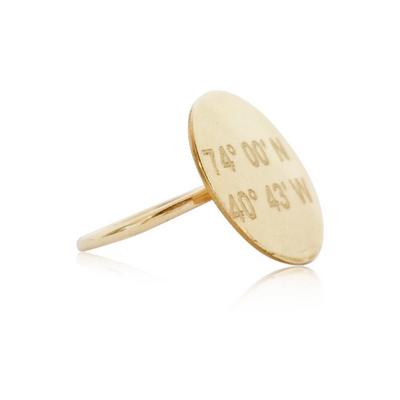 Lat & Lo disc ring, 14K gold filled, 16mm disc, wire band, inscribed with coordinates