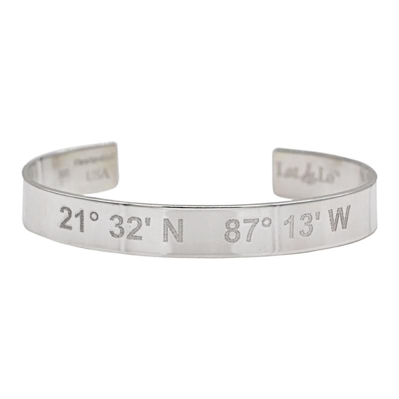 personalized and stamp item stamped charm sterling engraved bracelet silver cuff men custom solid in bangles coordinate jewelry longitude latitude from