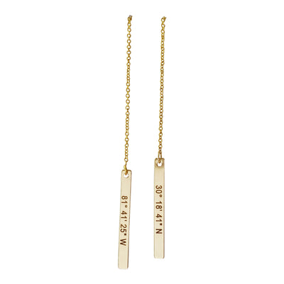 hanging threader earrings, vertical bar charm, Coordinates, 14K Gold Filled, .925 Sterling Silver