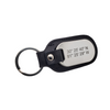 Picture of front view of black leather and stainless steel key chain that is custom inscribed with latitude longitude coordinates. By Lat & Lo. Available at latandlo.