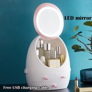 Makeup Organizer Cosmetic Storage LED Light USB - Box with