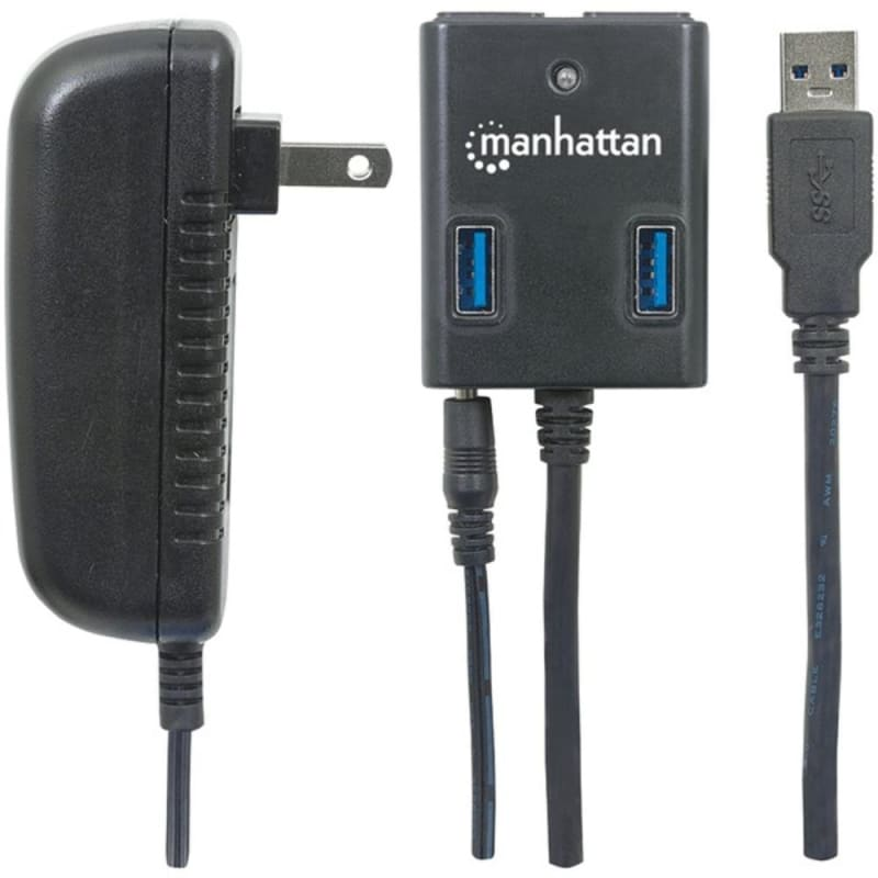 Manhattan 162302 Superspeed Usb 3.0 Hub With Ac Adapter -