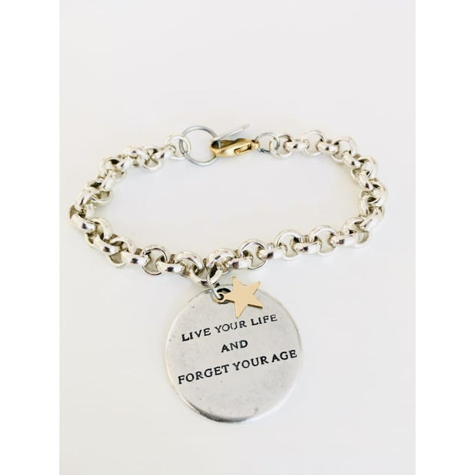 Message Bracelet in Silver and Gold Star Charm. - Jewelry &