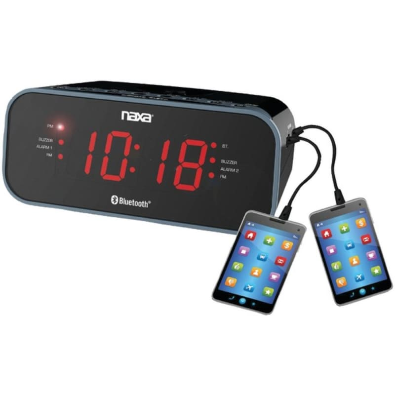Naxa Nrc-182 Bluetooth Dual Alarm Clock Radio With 2 Usb