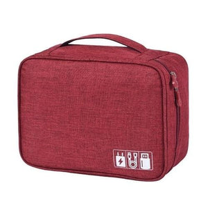 Portable Travel Cable Bag Digital USB Gadget - Burgundy -