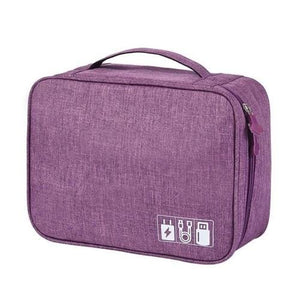 Portable Travel Cable Bag Digital USB Gadget - Plum - Other